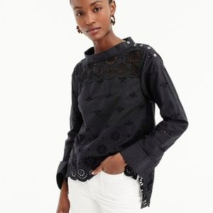 J Crew Shirt Funnelneck Eyelet Black Long Sleeve 8